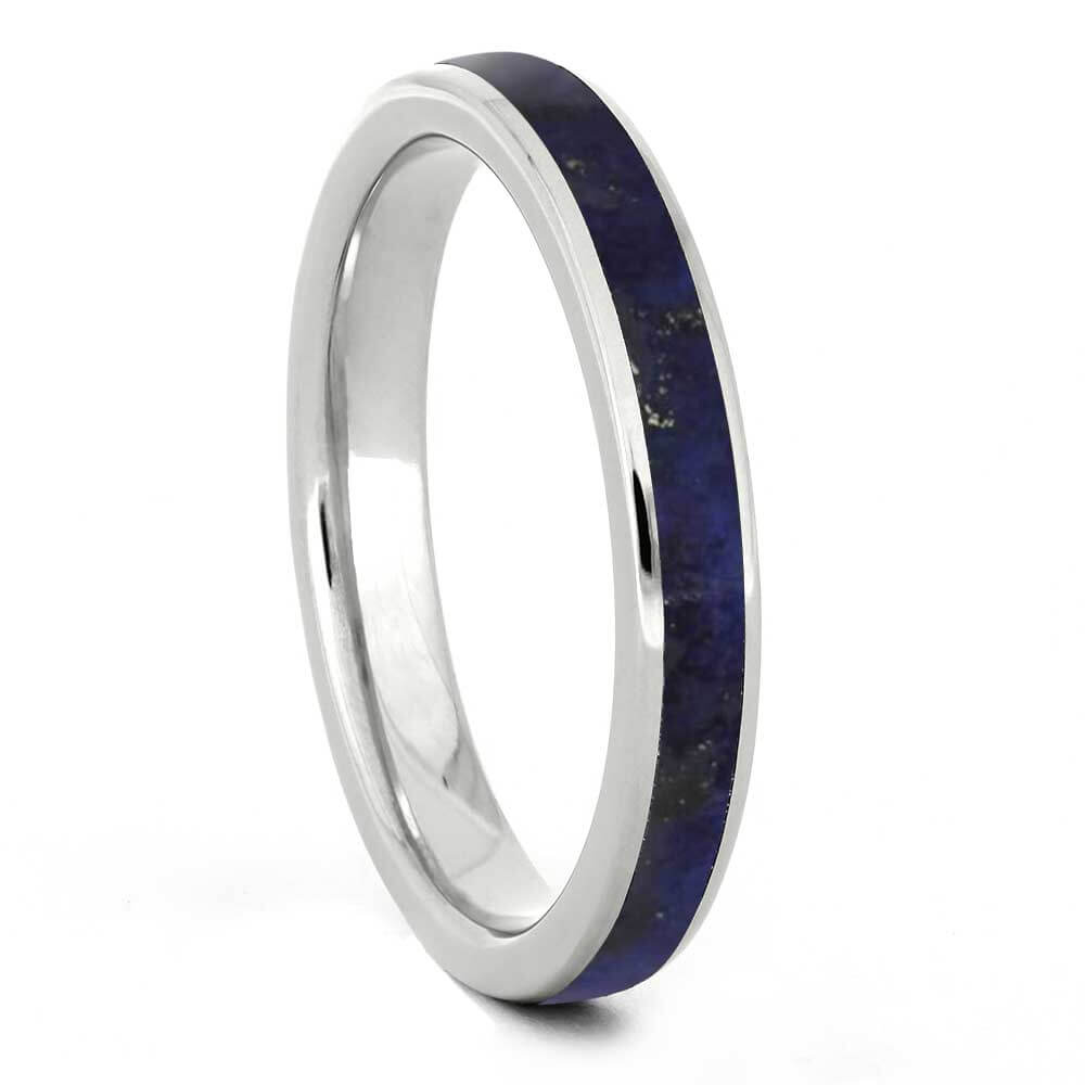 Lapis Lazuli Wedding Band For Women, Titanium Ring-3432 - Jewelry by Johan
