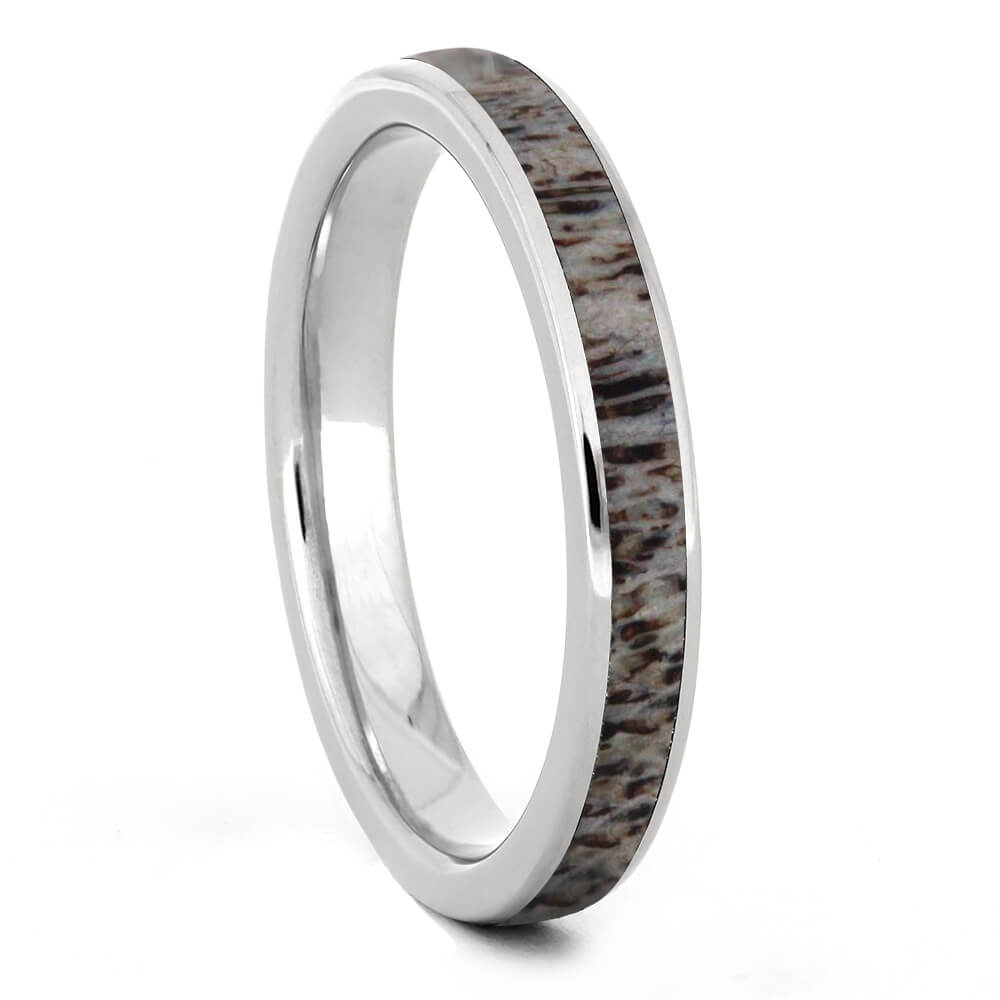 Custom Women's Deer Antler Wedding Band In Titanium-3439 - Jewelry by Johan