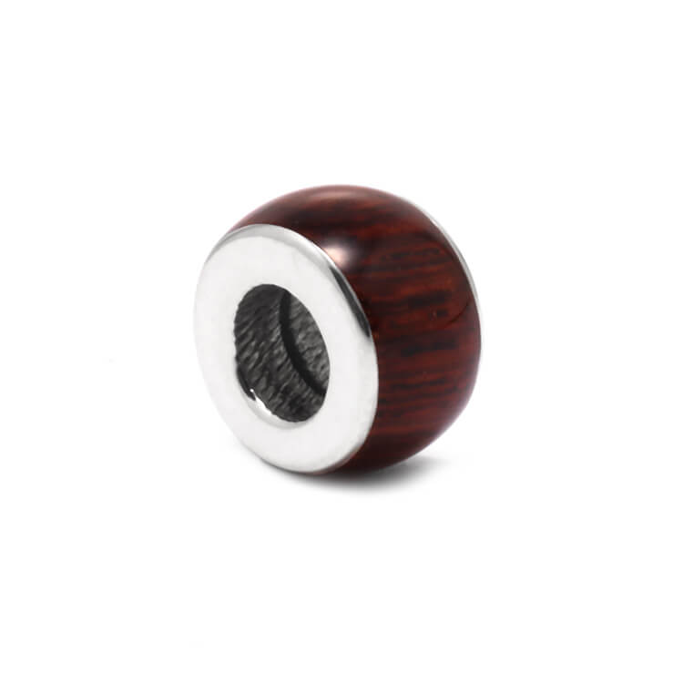 Honduran Rosewood Charm Bead for Snake Bracelets-RS9652 In Stock - Jewelry by Johan
