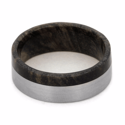 titanium wedding band with wood sleeve shown