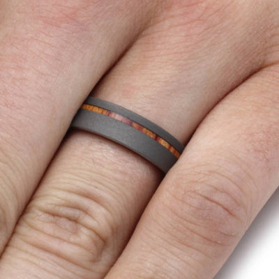 Sandblasted Titanium Ring With Tulipwood Sleeve-1907 - Jewelry by Johan
