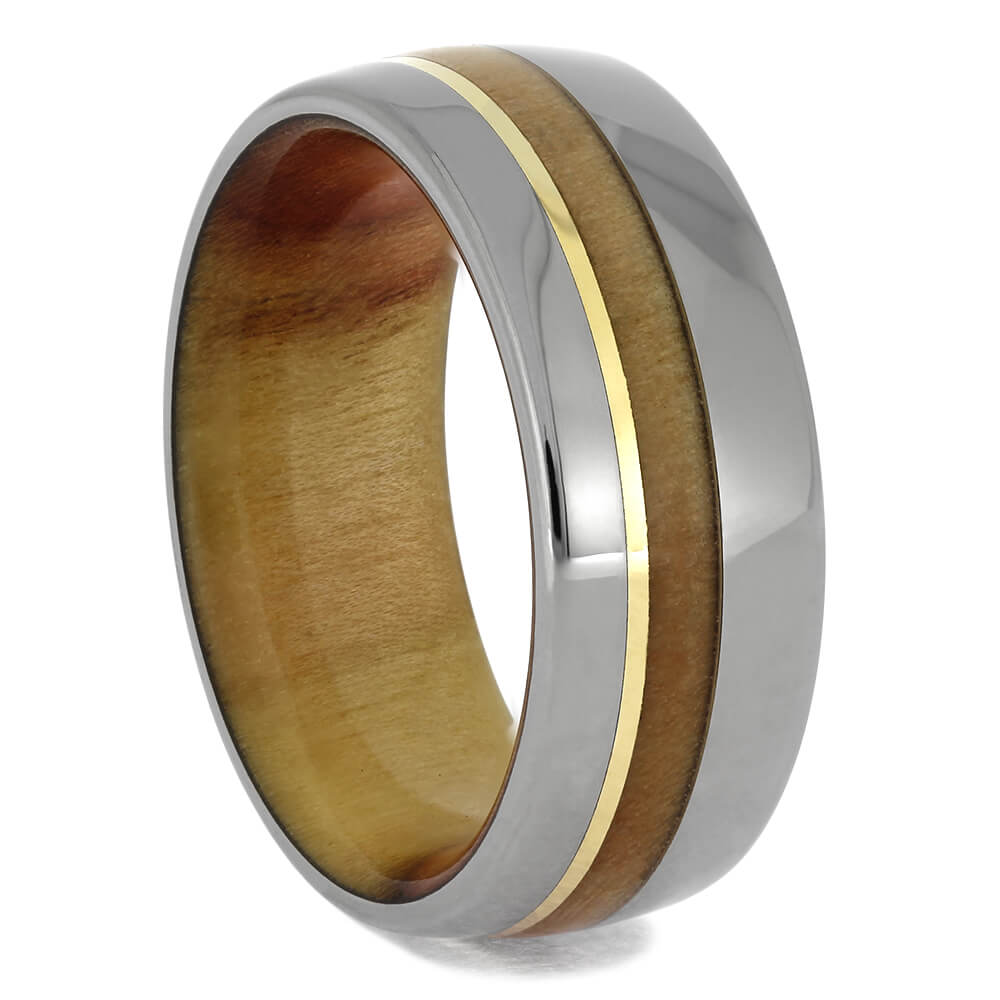 Titanium and Wood Wedding Band for Men