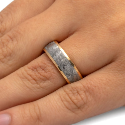 Meteorite Men's Wedding Band With Yellow Gold-3459 - Jewelry by Johan