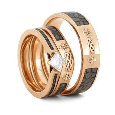 Unique Antler Wedding Ring Set in Rose Gold-2298 - Jewelry by Johan
