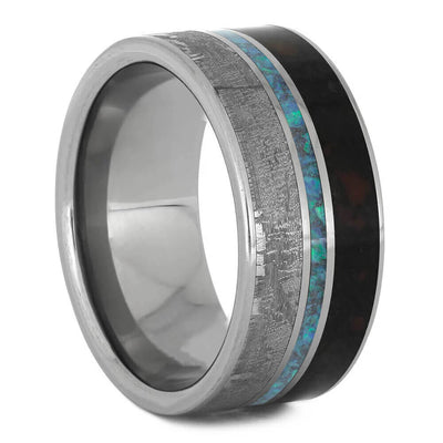 Meteorite and Opal Wedding Band