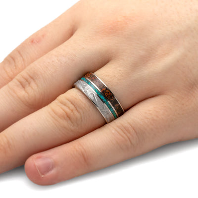 Opal Wedding Band, Meteorite And Dinosaur Bone Ring-3477 - Jewelry by Johan