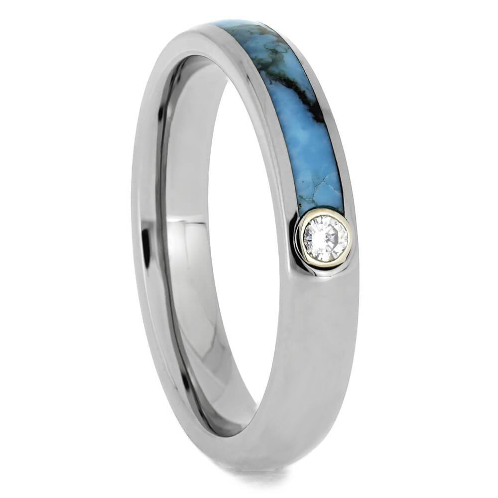 Womens Moissanite Wedding Band With Turquoise And Titanium-3479 - Jewelry by Johan