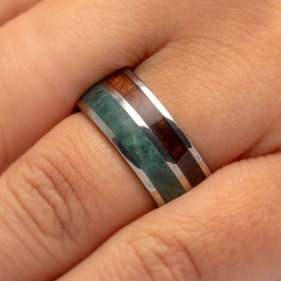 Jade Wedding Band With Natural Redwood, Titanium Ring-3487 - Jewelry by Johan