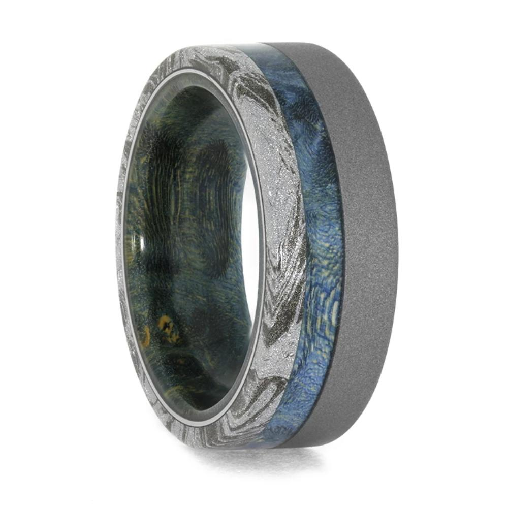 mokume wedding band with blue wood sleeve