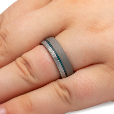 Sandblasted Titanium Ring on finger