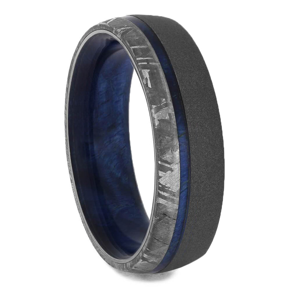 Meteorite Men's Wedding Band, Wooden Ring With Sandblasted Titanium-3496 - Jewelry by Johan