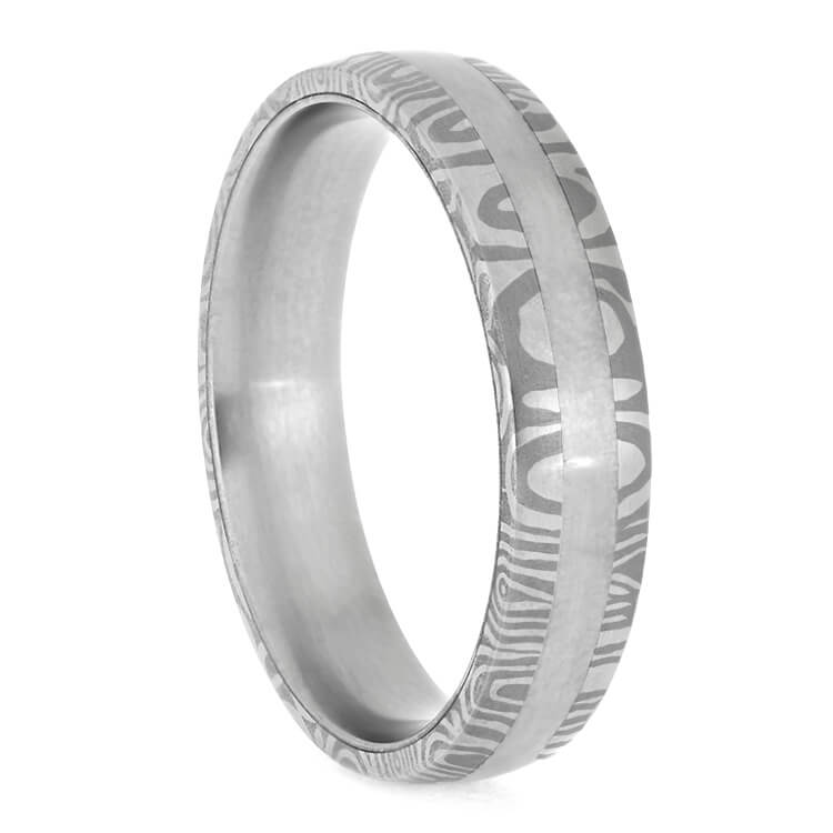 Banded Steel Ring, Damascus Wedding Band With Titanium Accents-2673