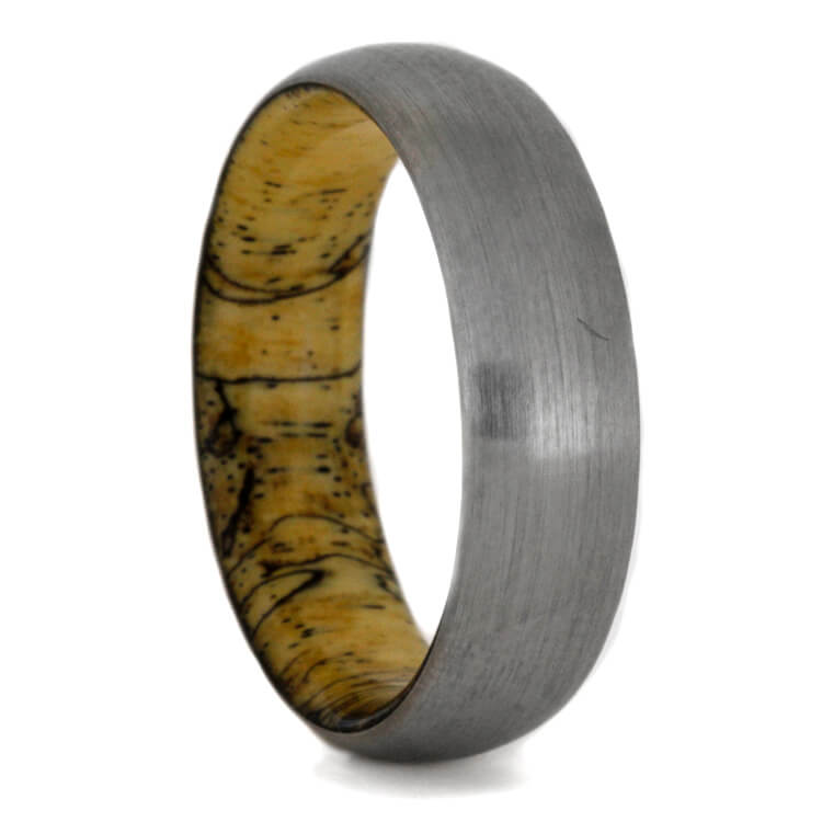 Brushed Titanium Ring With Tamarind Sleeve, Size 12.5-RS9361 - Jewelry by Johan