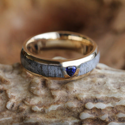 Yellow Gold Antler Wedding Band with Heart Shaped Sapphire-2954 - Jewelry by Johan