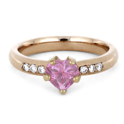 Pink Sapphire Engagement Ring 14k Rose Gold Ring With Diamond