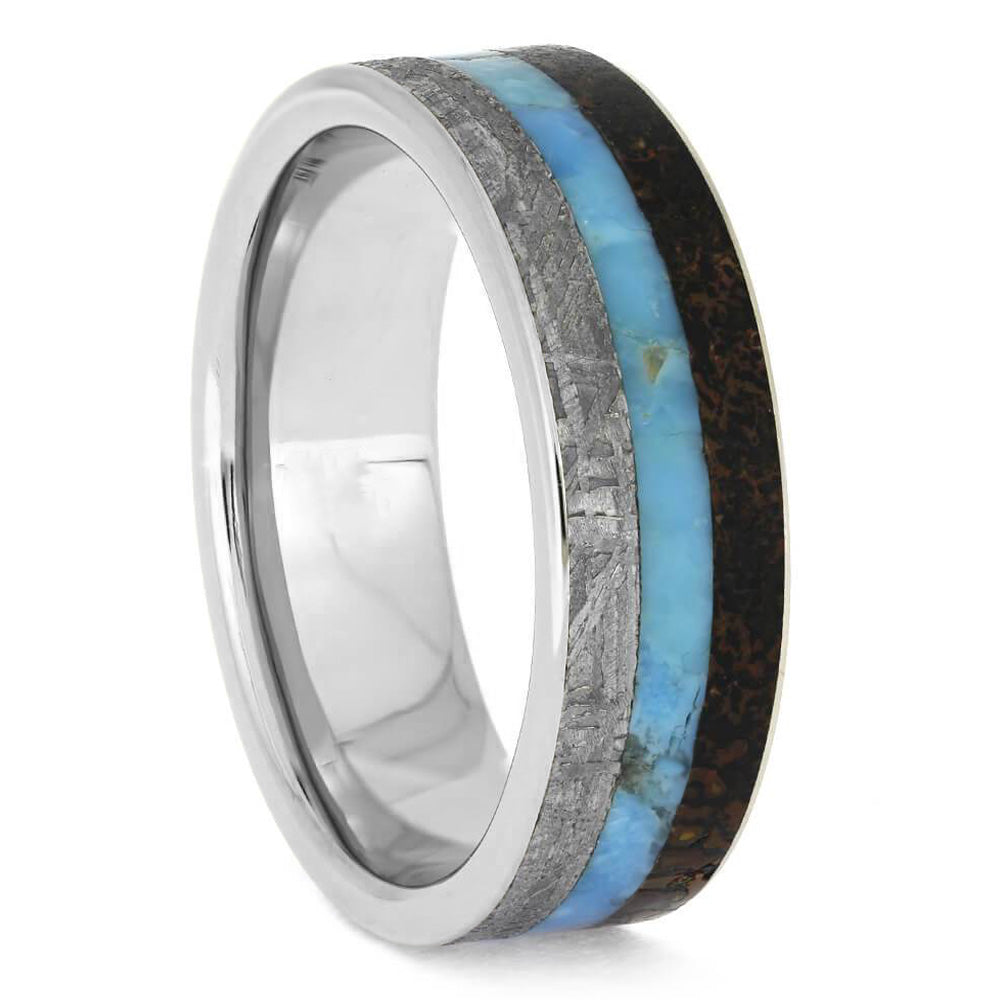 Turquoise, Meteorite & Dino Bone Men's Wedding Band - Jewelry by Johan