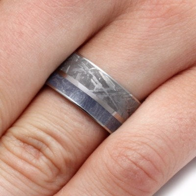 Men's Wedding Band With Mokume And Meteorite-2152 - Jewelry by Johan