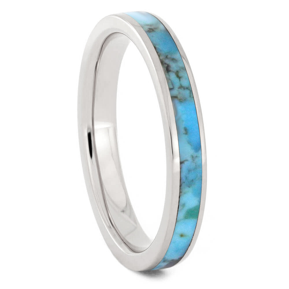 Turquoise Wedding Band For Women Made in Titanium-3505 - Jewelry by Johan