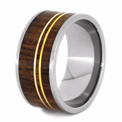 Titanium Ring With Koa Wood and Gold Pinstripes-2148 - Jewelry by Johan