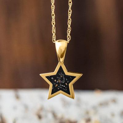 Yellow Gold Star Pendant Necklace With Black Stardust™-2583-BK - Jewelry by Johan