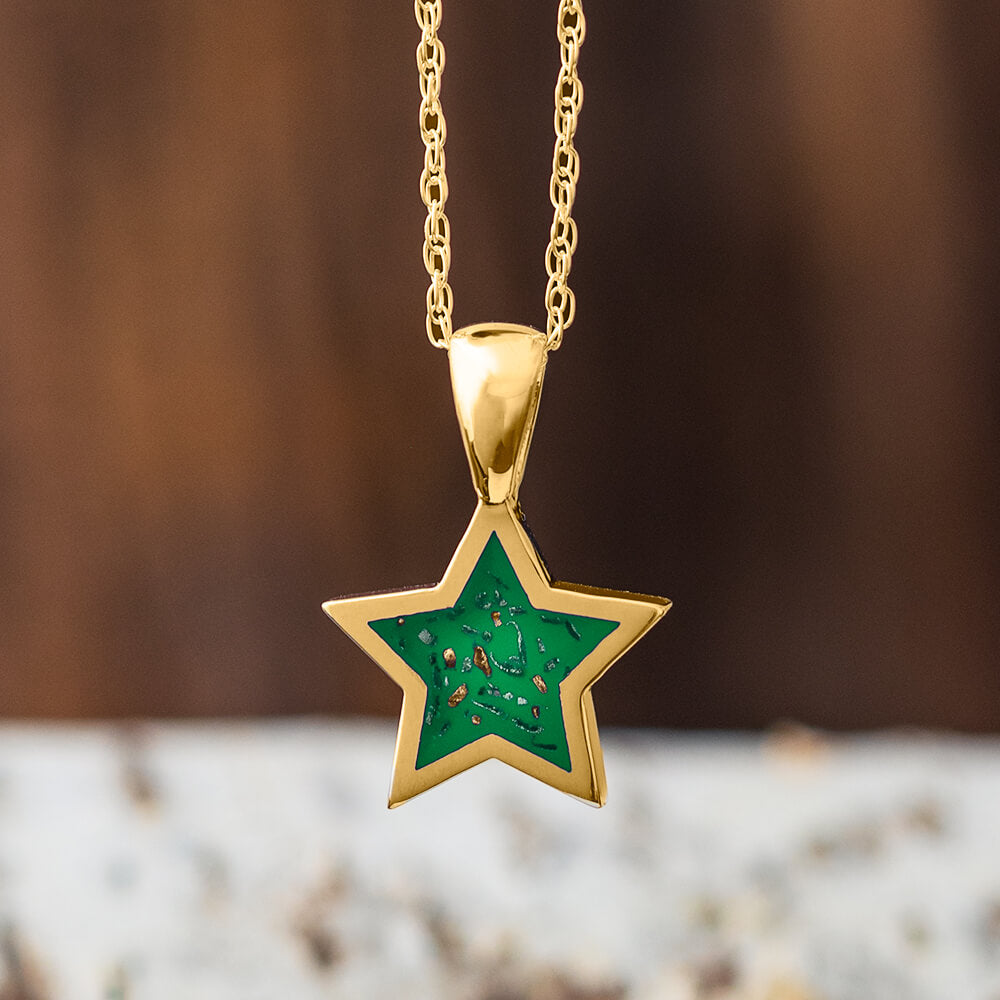 Yellow Gold Star Pendant Necklace With Green Stardust™-2583-GR - Jewelry by Johan