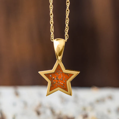 Yellow Gold Star Pendant Necklace With Orange Stardust™-2583-OR - Jewelry by Johan
