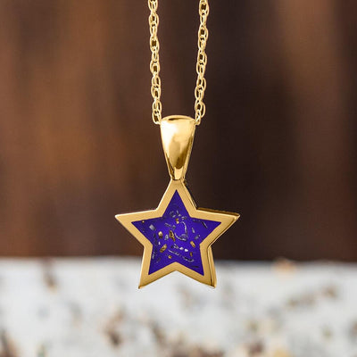 Yellow Gold Star Pendant Necklace With Orange Stardust™-2583-OR