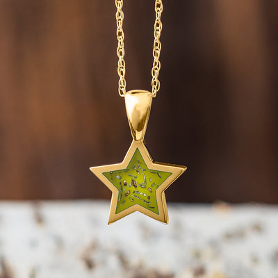 Yellow Gold Star Pendant Necklace With Red Stardust™-2583-RD - Jewelry by Johan
