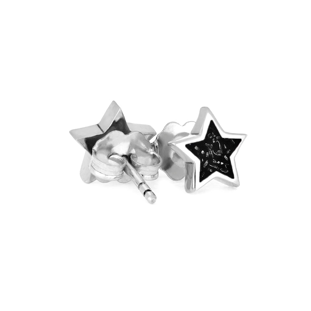 Black Stardust™ Stud Earrings In Silver-3522AG