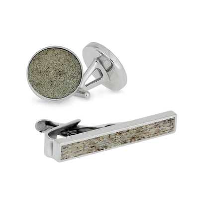 Big Buck Gift Set - Deer Antler Sterling Silver Tie Clip and Cuff Links-3538 - Jewelry by Johan