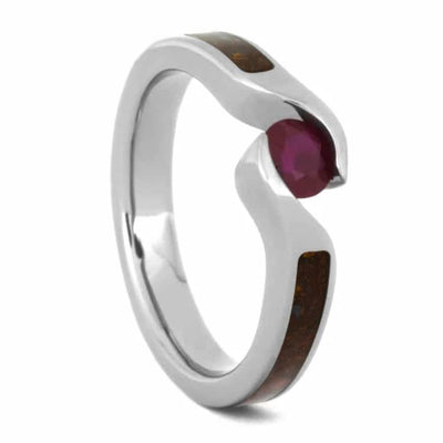 Crushed Fossil Ring with Ruby