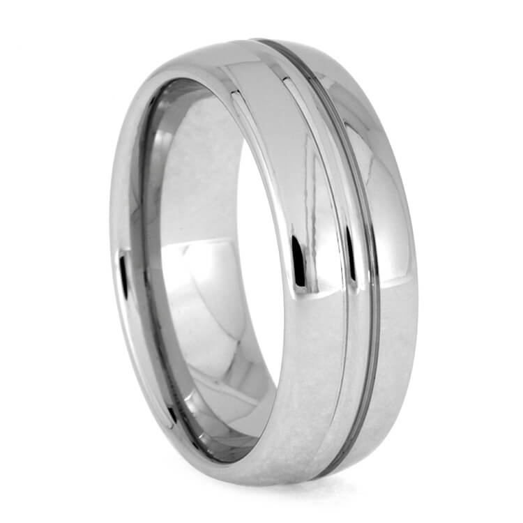 Polished Cobalt Men's Wedding Band With Grooves, Size 10-RS9335 - Jewelry by Johan