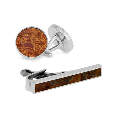 Bad to the Dino Bone Gift Set with Sterling Silver Tie Clip and Cuff Links-3547 - Jewelry by Johan