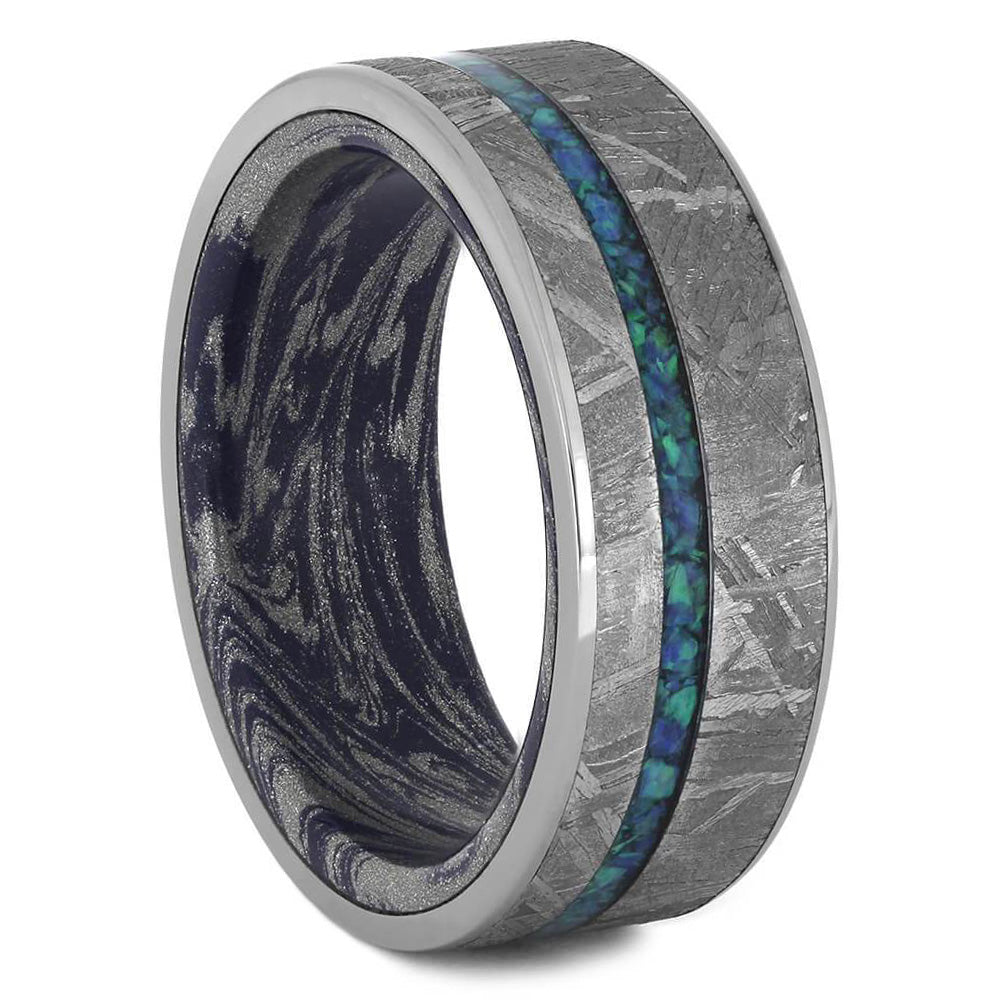 Crushed Opal Men's Wedding Band, Meteorite Ring With Mokume Sleeve-3558 - Jewelry by Johan