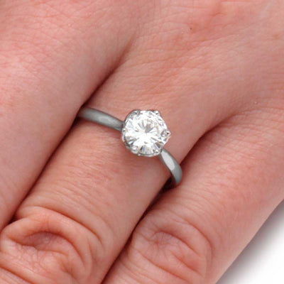Moissanite Engagement Ring With A Flower Setting-3506 - Jewelry by Johan