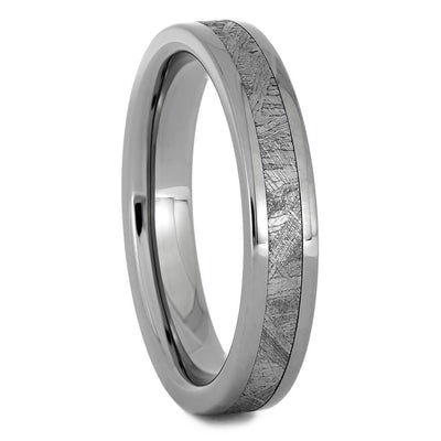 Thin Titanium Wedding Band with Meteorite Inlay