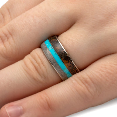 Turquoise Ring With Meteorite And Dino Bone Inlays-3579 - Jewelry by Johan