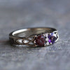 Double Heart Gemstone Engagement Ring With Partial Meteorite Band, White Gold-3580 - Jewelry by Johan