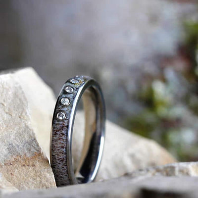 Polished Titanium Men's Ring with Antler