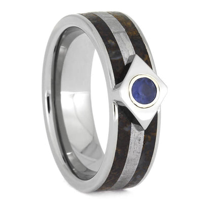Meteor Engagement Ring With Sapphire, Titanium Ring Inlaid With Dinosaur Bone