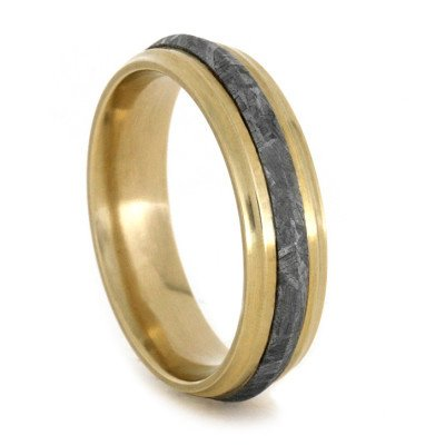 Gold Meteorite Ring with Knife Edge Profile