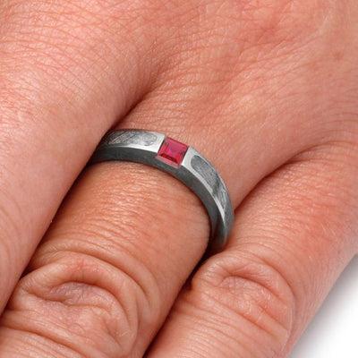 Meteorite Engagement Ring with Red Ruby in 10k White Gold