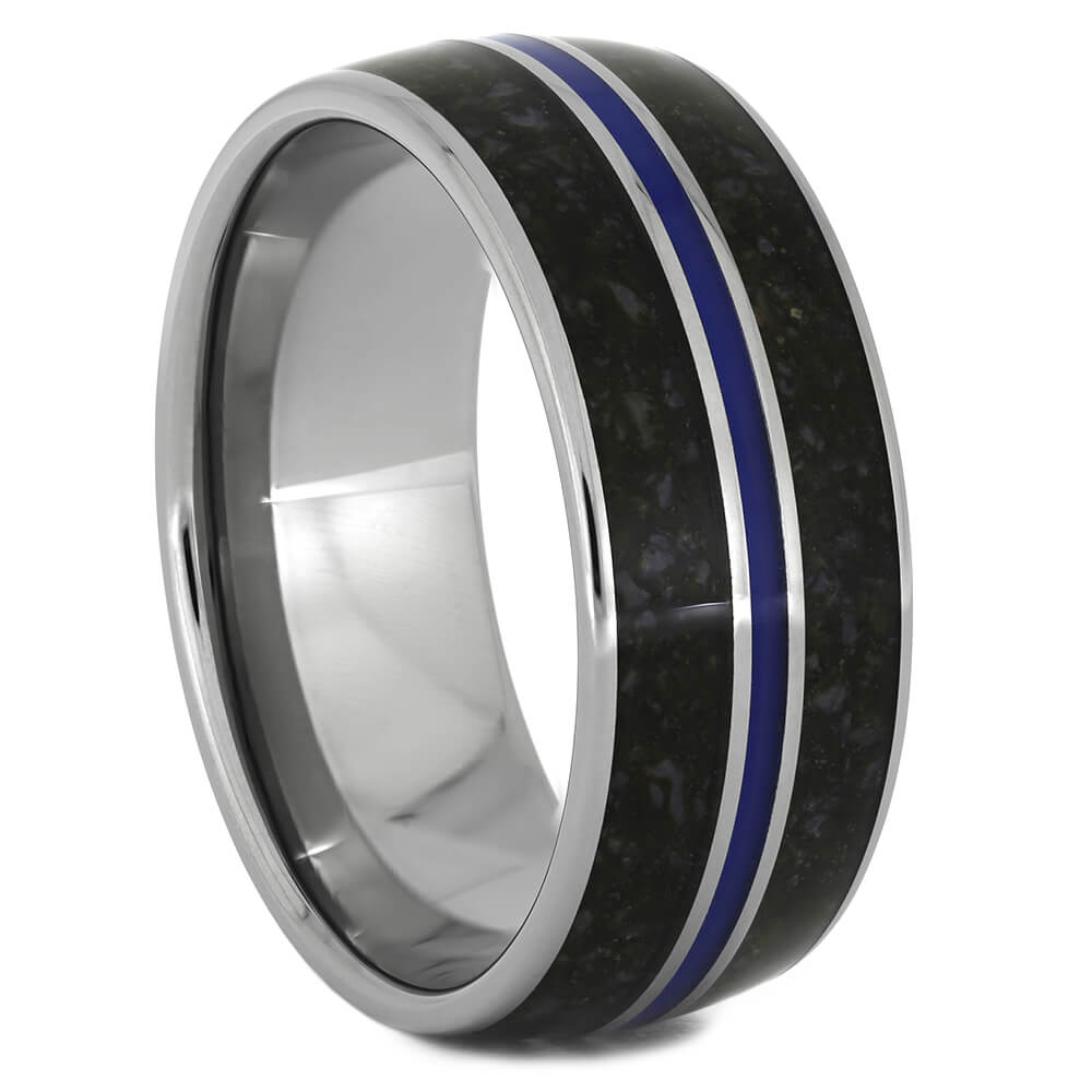 Crushed Dinosaur Bone Wedding Band with Blue Enamel-3600 - Jewelry by Johan