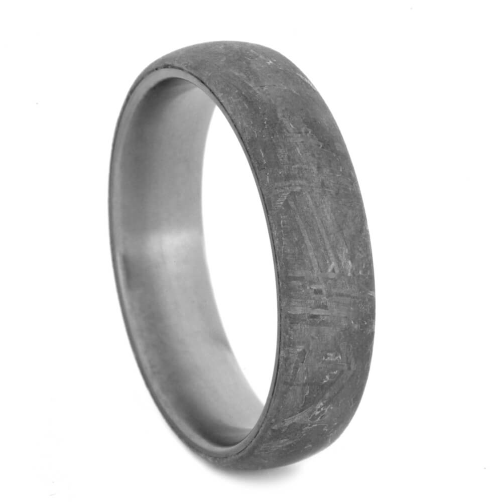 Simple Men's Meteorite Band in Titanium, Gibeon Meteorite Overlay-3618 - Jewelry by Johan