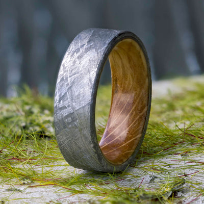 Meteorite Men's Wedding Band With Whiskey Barrel Wood Sleeve