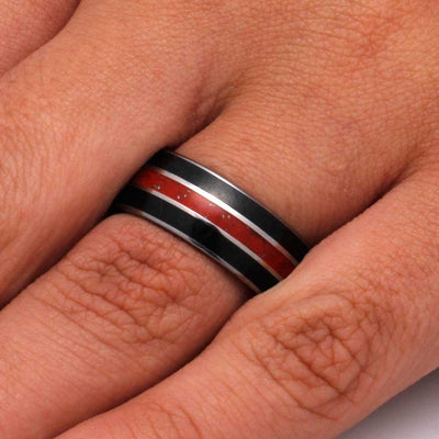 Tungsten Wedding Band with Red Stardust™ And Black Jade Inlays-3230 - Jewelry by Johan