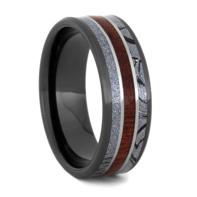 Unique Mokume Wedding Band With Bloodwood, Black Ceramic Ring-2306 - Jewelry by Johan