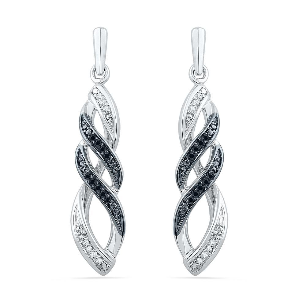 Black & White Diamond Dangle Earrings-SHEF072935CAWBW - Jewelry by Johan