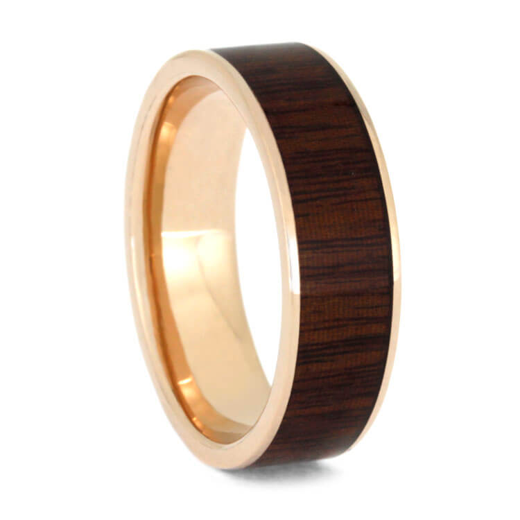 Ipe Wood Wedding Band 14k Rose Gold Ring Jewelry By Johan