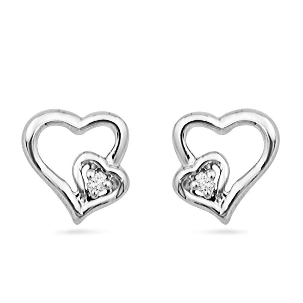 Diamond Heart Stud Earrings, Silver or White Gold-SHEF070654ATW - Jewelry by Johan